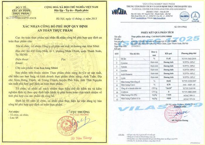 giấy chứng nhận của cao ban long